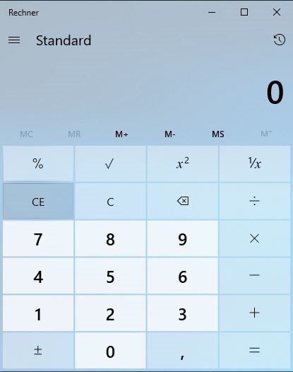 Picture of the Calculator, integrated in Windows 10